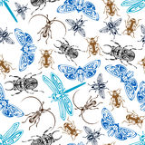 Seamless pattern of bugs and insects Stock Photos