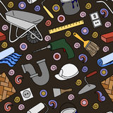 Seamless pattern with building materials. Vector illustration Stock Photography