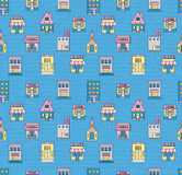 Seamless pattern with buildings. Cafe, cinema, store, church, ap Stock Photography
