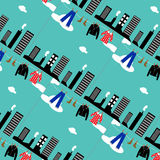 Vector seamless pattern with retro laundry over city Royalty Free Stock Image