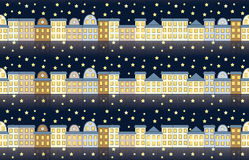 Pattern with buildings at night Royalty Free Stock Photos