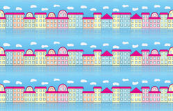 Seamless pattern with buildings. Over blue sky Royalty Free Stock Image