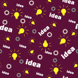 Seamless Pattern with Bulb, Gear and Word Idea. Stock Images