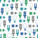 Seamless pattern with bulbs and socket Stock Image