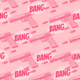 Seamless pattern with bullet, pistol. Bang. Stock Image