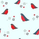 Seamless pattern with bullfinches. Seamless pattern with cartoon bullfinches on a white background. Vector bird illustration Stock Illustration