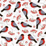 Seamless pattern with bullfinches and rowan. Vector illustration, eps royalty free illustration