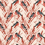 Seamless pattern with bullfinches and snowflakes on a beige background. Stock Image