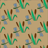 Seamless pattern with bulrushes and dragonflies Royalty Free Stock Photography