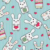 Seamless pattern with bunnies Royalty Free Stock Photo