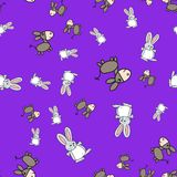 Seamless pattern of bunnies and donkeys in cartoon style vector illustration
