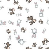 Seamless pattern of bunnies and donkeys in cartoon style royalty free illustration