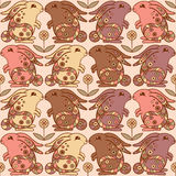 Seamless pattern with bunnies and flowers Stock Images
