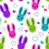 Seamless pattern with bunnies and hearts Royalty Free Stock Images