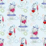 Seamless pattern, Bunnies with Valentine hearts Royalty Free Stock Photography