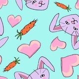 Seamless pattern with bunny stock illustration