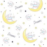 Seamless pattern with bunny on the moon. Vector  Illustration Royalty Free Stock Images