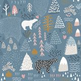 Seamless pattern with bunny,polar bear, forest elements and hand drawn shapes. Childish texture. Great for fabric, textile Vector royalty free illustration