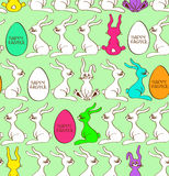 Seamless pattern of bunny rabbits and Easter eggs Royalty Free Stock Photos