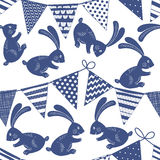 Seamless pattern with buntings garlands and bunnies on white bac Stock Photo