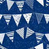 Seamless pattern with  buntings garlands on polka dots background Royalty Free Stock Image