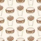 Seamless pattern with burger and french fries. Illustration of fast food. Seamless pattern with a burger and french fries. Illustration of fast food Stock Photography