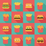 Seamless pattern burger fries, dynamic duo flat design. Seamless pattern burger and fries, dynamic duo in flat design style Royalty Free Stock Image