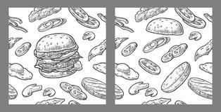 Seamless pattern burger include cutlet, tomato, cucumber and salad. Seamless pattern burger and ingredients include cutlet, tomato, cucumber and salad. Vector Stock Photos