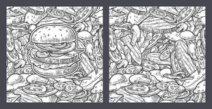 Seamless pattern burger include cutlet, tomato, cucumber and salad. Seamless pattern burger and ingredients include cutlet, tomato, cucumber and salad. Vector Royalty Free Stock Images