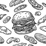 Seamless pattern burger include cutlet, tomato, cucumber and salad. Seamless pattern burger and ingredients include cutlet, tomato, cucumber and salad. Vector Stock Images