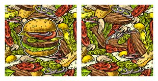 Seamless pattern burger and ingredients include cutlet, tomato, cucumber and salad Royalty Free Stock Image