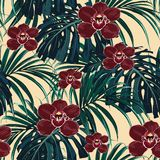 Seamless pattern, burgundy orchid flower and green exotic palm monster leaves stock illustration