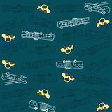 Seamless pattern with buses and trolleybuses Stock Image