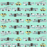 Seamless pattern with buses and trolleybuses Royalty Free Stock Photo