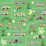 Seamless pattern with buses and trolleybuses Stock Photography