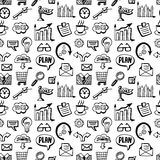 Seamless pattern with business doodles icons set Stock Photos