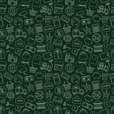 Seamless pattern business. Finance and money-vector illustration. Dark green background. Online shop, video surveillance and call center Royalty Free Illustration
