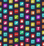 Seamless Pattern with Business and Financial Colorful Icons Royalty Free Stock Photo