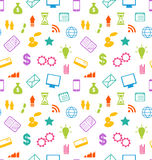 Seamless Pattern with Business and Financial Icons Stock Image