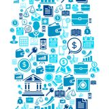 Seamless pattern of the business icons.  Royalty Free Stock Image
