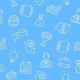 Seamless pattern of business icons. Seamless vector pattern of business icons on a light blue background painted by hand Royalty Free Stock Photography