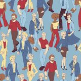 Seamless pattern with business people walking. Cartoon style illustration with men and woman. Stock Photography