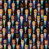 Seamless pattern with businessmen or politicians crowd. flat  illustration of business or politics community. Stock Photos