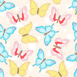 Seamless pattern with butterflies. Blue, pink and yellow beautiful butterflies Royalty Free Stock Photo