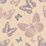 Seamless pattern with butterflies. In neutral colors Royalty Free Stock Image