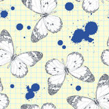 Seamless pattern with butterflies. Stock Photo