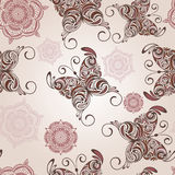 seamless pattern with butterflies and abstra Stock Photos