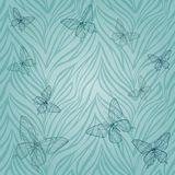 Seamless pattern with butterflies of abstract striped background. ΠStock Image