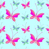 Seamless pattern with butterflies. Seamless background with bright colorful butterflies . Perfect for background greeting cards and invitations to the day of the Stock Images