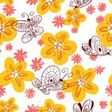 Seamless pattern with butterflies. Background with flying beauti Stock Images